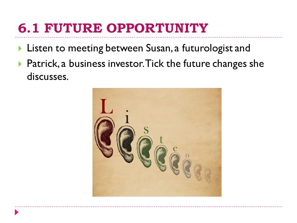 6.1 FUTURE OPPORTUNITY  Listen to meeting between Susan, a futurologist and  Patrick, a business investor. Tick the future changes she discusses.
