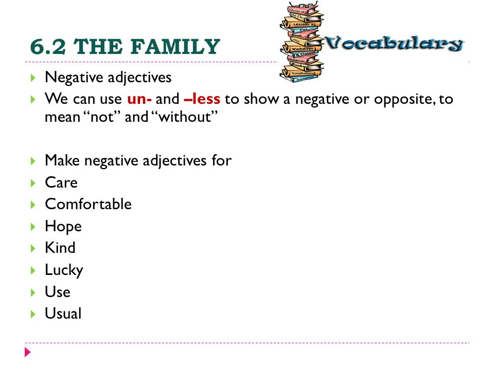 """6.2 THE FAMILY  Negative adjectives  We can use un- and –less to show a negative or opposite, to mean """"not"""" and """"without""""  Make negative adjectives"""