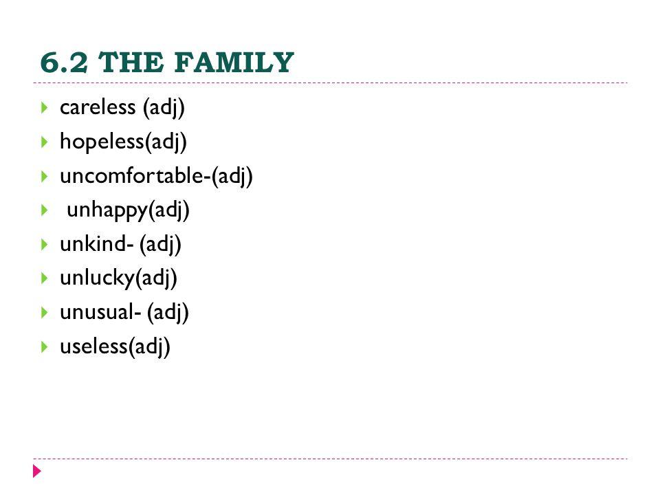 6.2 THE FAMILY  careless (adj)  hopeless(adj)  uncomfortable-(adj)  unhappy(adj)  unkind- (adj)  unlucky(adj)  unusual- (adj)  useless(adj)