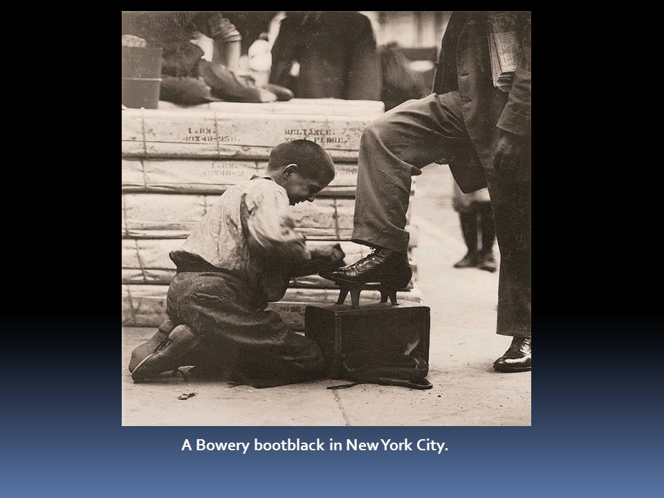 A Bowery bootblack in New York City.