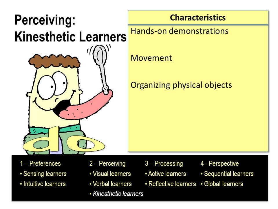 Processing: Active Learners Characteristics Learn by trying things out, working with others, testing out ideas, explaining to others (physical engagement or discussion).