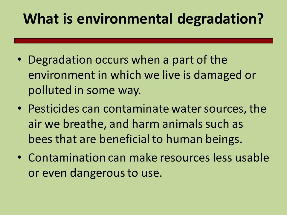 What is environmental degradation.