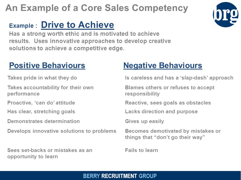 BERRY RECRUITMENT GROUP An Example of a Core Sales Competency Example : Drive to Achieve Has a strong worth ethic and is motivated to achieve results.