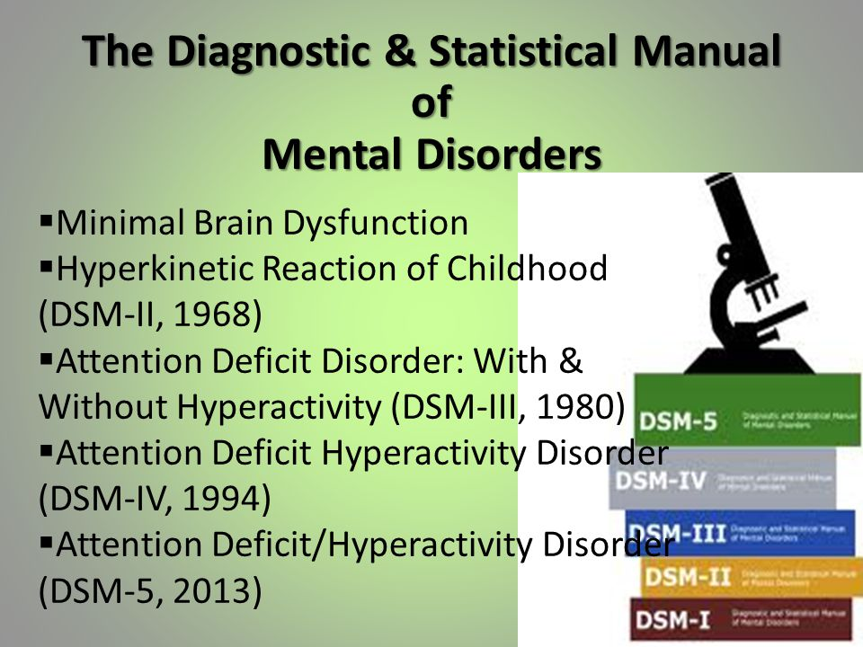 The Diagnostic & Statistical Manual of Mental Disorders  Minimal Brain Dysfunction  Hyperkinetic Reaction of Childhood (DSM-II, 1968)  Attention Deficit Disorder: With & Without Hyperactivity (DSM-III, 1980)  Attention Deficit Hyperactivity Disorder (DSM-IV, 1994)  Attention Deficit/Hyperactivity Disorder (DSM-5, 2013)