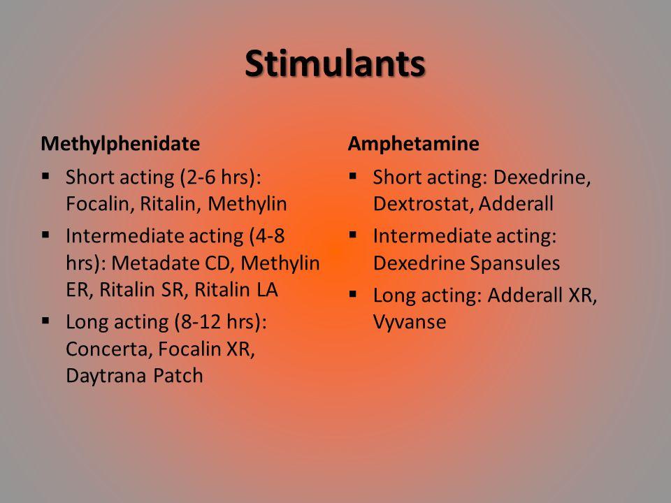 Stimulants Methylphenidate  Short acting (2-6 hrs): Focalin, Ritalin, Methylin  Intermediate acting (4-8 hrs): Metadate CD, Methylin ER, Ritalin SR, Ritalin LA  Long acting (8-12 hrs): Concerta, Focalin XR, Daytrana Patch Amphetamine  Short acting: Dexedrine, Dextrostat, Adderall  Intermediate acting: Dexedrine Spansules  Long acting: Adderall XR, Vyvanse