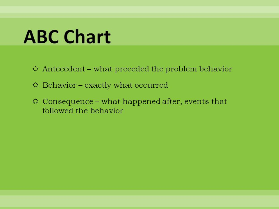  Antecedent – what preceded the problem behavior  Behavior – exactly what occurred  Consequence – what happened after, events that followed the beh
