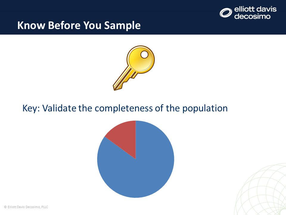 Source: IIA Practice Advisory 2320-3: Audit Sampling © Elliott Davis Decosimo, PLLC Types of Sampling Statistical Sampling Draw conclusions about the population based on mathematic confidence levels