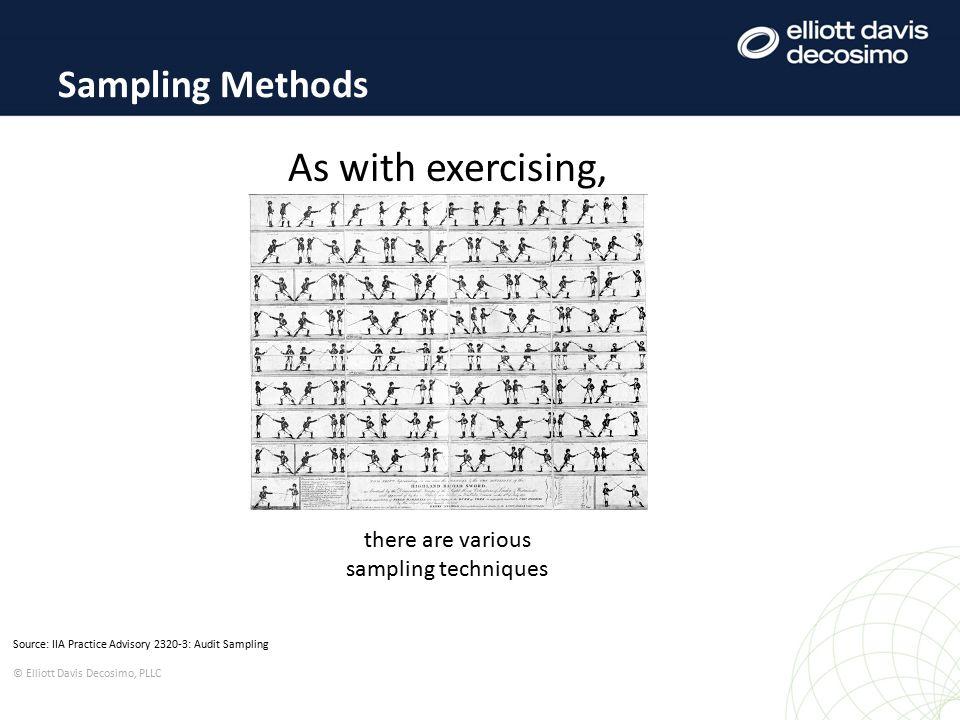 Source: IIA Practice Advisory 2320-3: Audit Sampling © Elliott Davis Decosimo, PLLC Sampling Methods As with exercising, there are various sampling techniques