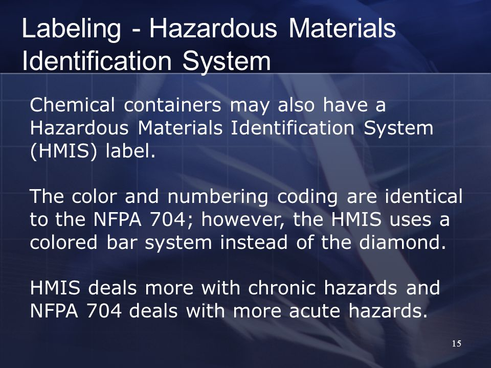 15 Chemical containers may also have a Hazardous Materials Identification System (HMIS) label.