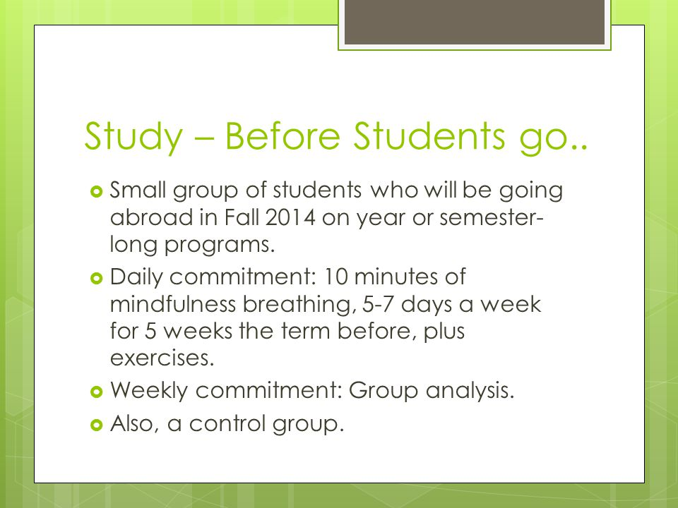 Study – Before Students go..  Small group of students who will be going abroad in Fall 2014 on year or semester- long programs.  Daily commitment: 1