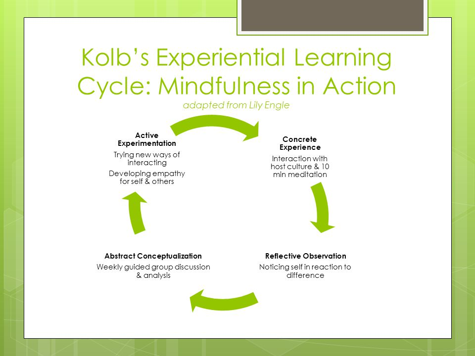 Kolb's Experiential Learning Cycle: Mindfulness in Action adapted from Lily Engle Concrete Experience Interaction with host culture & 10 min meditatio