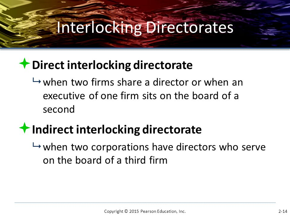 Interlocking Directorates  Direct interlocking directorate  when two firms share a director or when an executive of one firm sits on the board of a