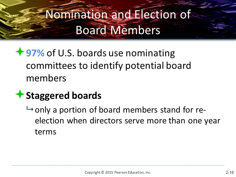 Nomination and Election of Board Members  97% of U.S. boards use nominating committees to identify potential board members  Staggered boards  only
