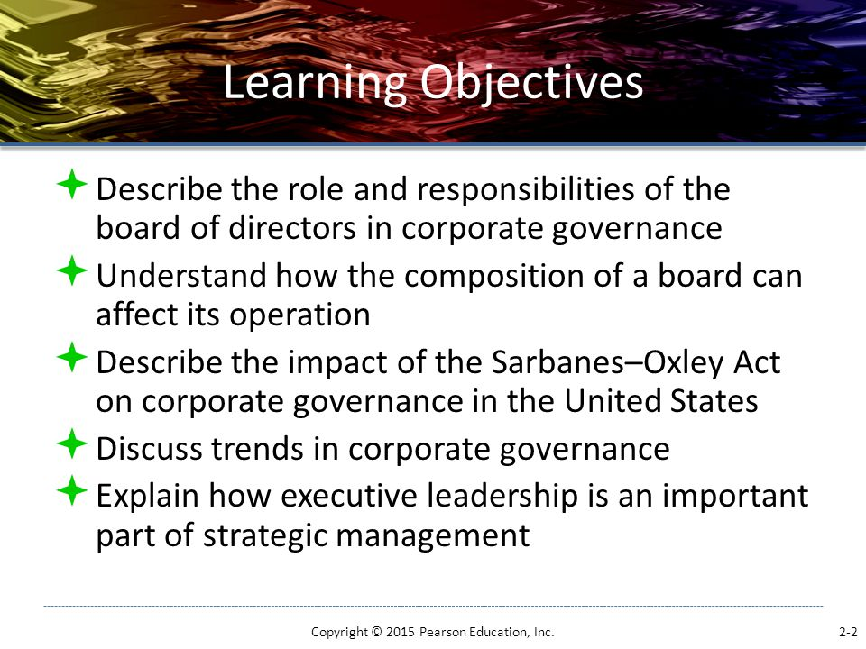 Learning Objectives  Describe the role and responsibilities of the board of directors in corporate governance  Understand how the composition of a b