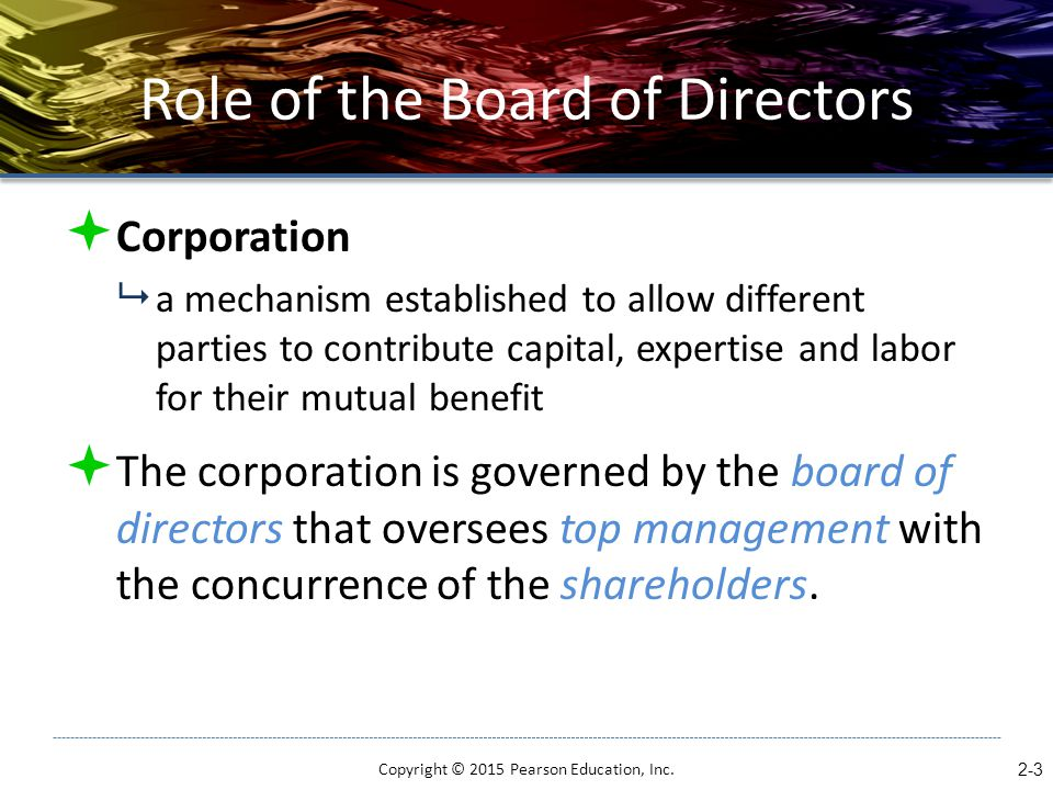 Role of the Board of Directors  Corporation  a mechanism established to allow different parties to contribute capital, expertise and labor for their