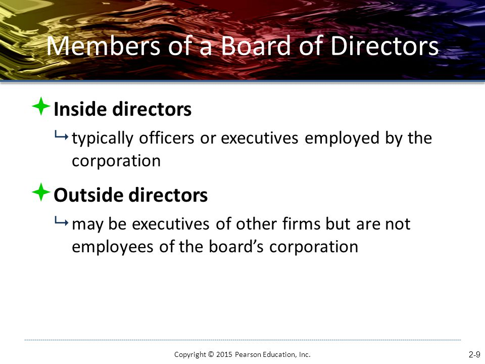 Members of a Board of Directors  Inside directors  typically officers or executives employed by the corporation  Outside directors  may be executi