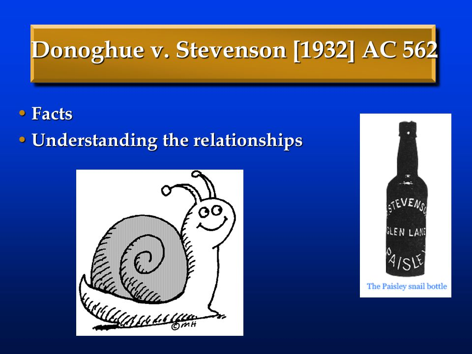 Donoghue v. Stevenson [1932] AC 562 Facts Facts Understanding the relationships Understanding the relationships