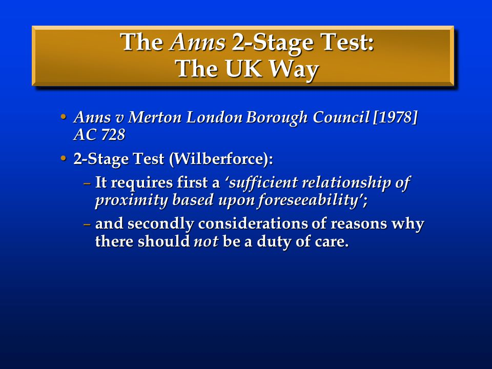 The Anns 2-Stage Test: The UK Way Anns v Merton London Borough Council [1978] AC 728 Anns v Merton London Borough Council [1978] AC 728 2-Stage Test (