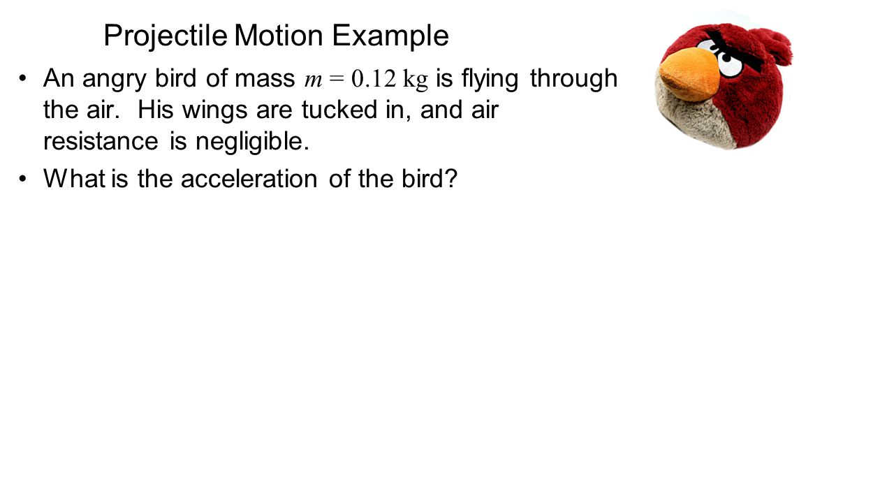 Projectile Motion Example An angry bird of mass m = 0.12 kg is flying through the air. His wings are tucked in, and air resistance is negligible. What