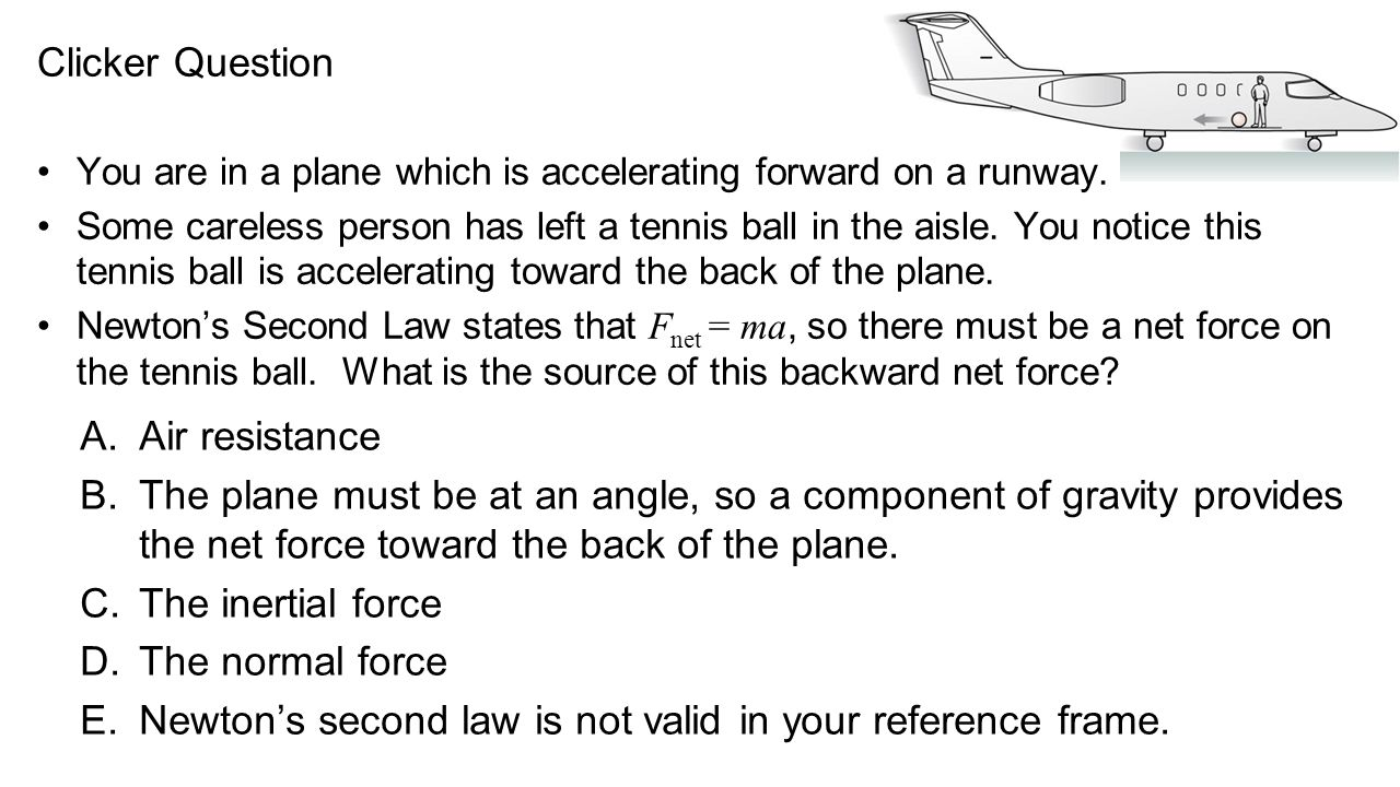 Clicker Question A.Air resistance B.The plane must be at an angle, so a component of gravity provides the net force toward the back of the plane. C.Th