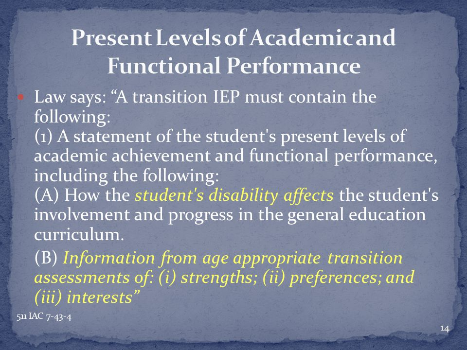 """Law says: """"A transition IEP must contain the following: (1) A statement of the student's present levels of academic achievement and functional perform"""