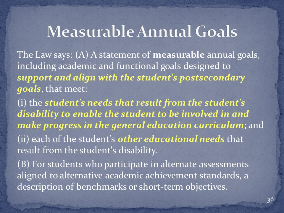 The Law says: (A) A statement of measurable annual goals, including academic and functional goals designed to support and align with the student s postsecondary goals, that meet: (i) the student s needs that result from the student s disability to enable the student to be involved in and make progress in the general education curriculum; and (ii) each of the student s other educational needs that result from the student s disability.