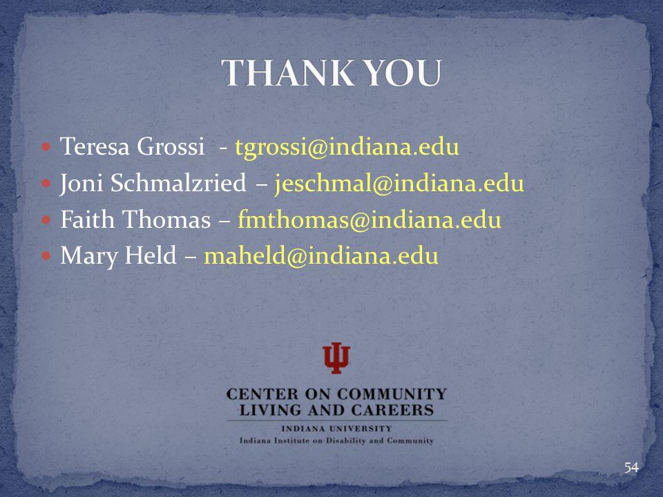 Teresa Grossi - tgrossi@indiana.edu Joni Schmalzried – jeschmal@indiana.edu Faith Thomas – fmthomas@indiana.edu Mary Held – maheld@indiana.edu 54
