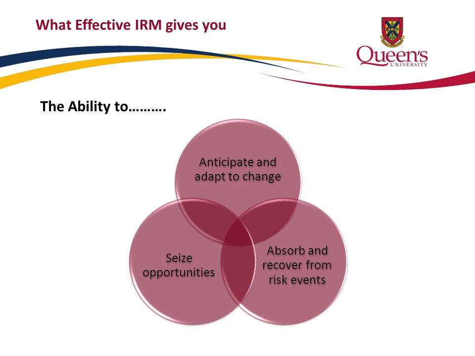 What Effective IRM gives you Anticipate and adapt to change Absorb and recover from risk events Seize opportunities The Ability to……….
