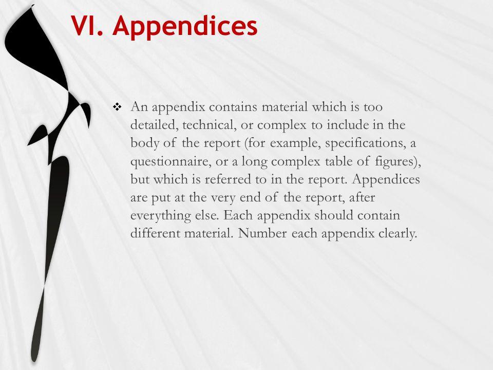 VI. Appendices