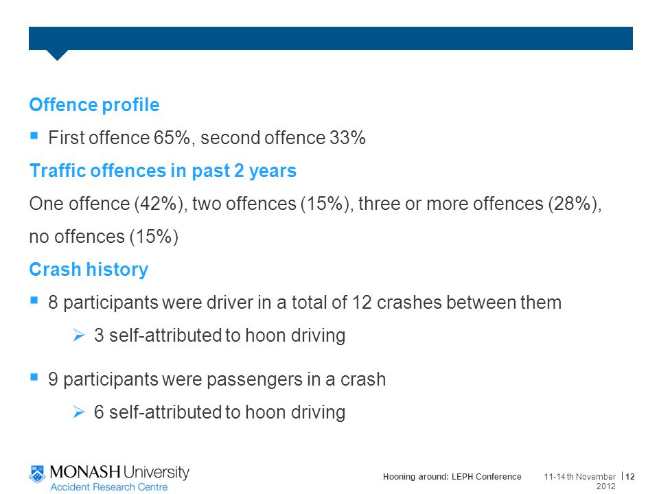 Offence profile  First offence 65%, second offence 33% Traffic offences in past 2 years One offence (42%), two offences (15%), three or more offences (28%), no offences (15%) Crash history  8 participants were driver in a total of 12 crashes between them  3 self-attributed to hoon driving  9 participants were passengers in a crash  6 self-attributed to hoon driving 11-14 th November 2012 Hooning around: LEPH Conference12
