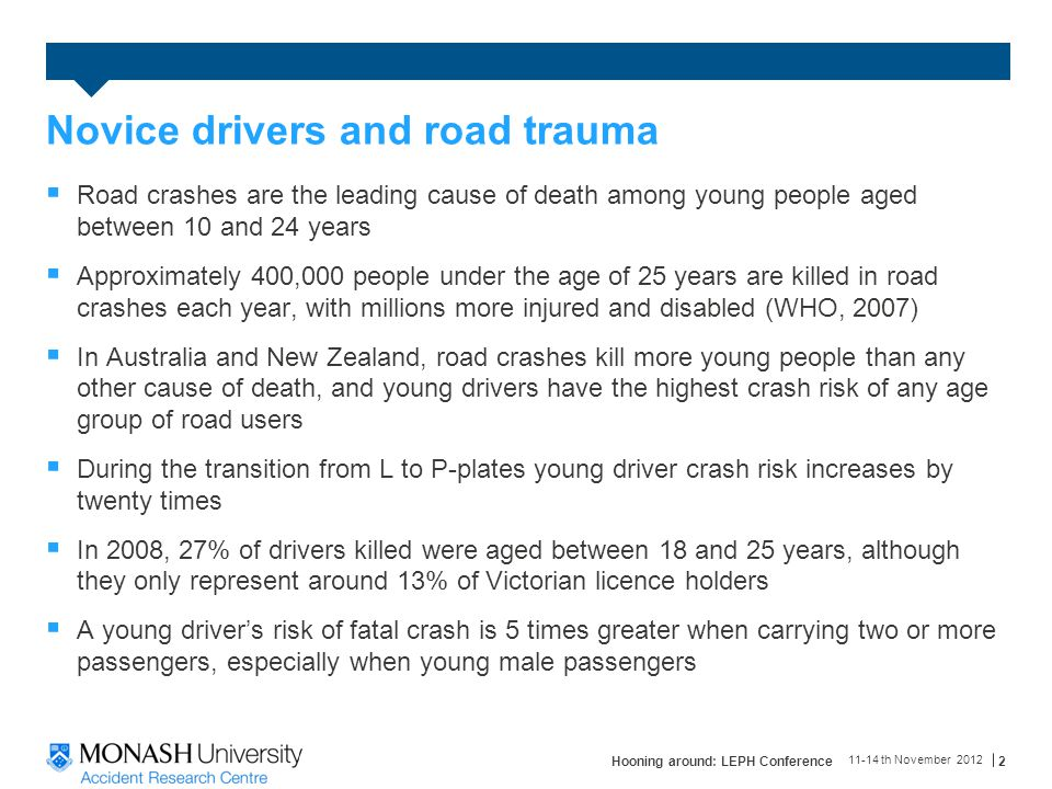 Novice drivers and road trauma  Road crashes are the leading cause of death among young people aged between 10 and 24 years  Approximately 400,000 people under the age of 25 years are killed in road crashes each year, with millions more injured and disabled (WHO, 2007)  In Australia and New Zealand, road crashes kill more young people than any other cause of death, and young drivers have the highest crash risk of any age group of road users  During the transition from L to P-plates young driver crash risk increases by twenty times  In 2008, 27% of drivers killed were aged between 18 and 25 years, although they only represent around 13% of Victorian licence holders  A young driver's risk of fatal crash is 5 times greater when carrying two or more passengers, especially when young male passengers 11-14 th November 2012 Hooning around: LEPH Conference2