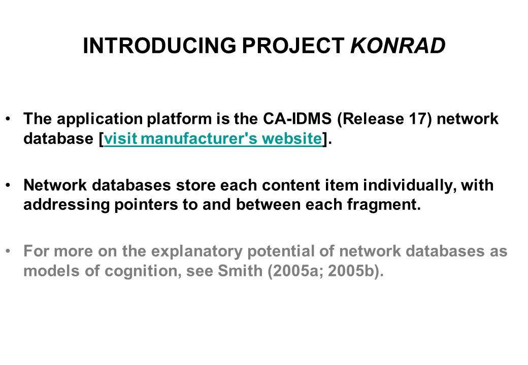 INTRODUCING PROJECT KONRAD The project is an entrepreneurial academic collaboration between the author and International Software Products, Toronto, and is so named as a tribute to the German engineer Konrad Zuse, one of the pioneers of digital computing.