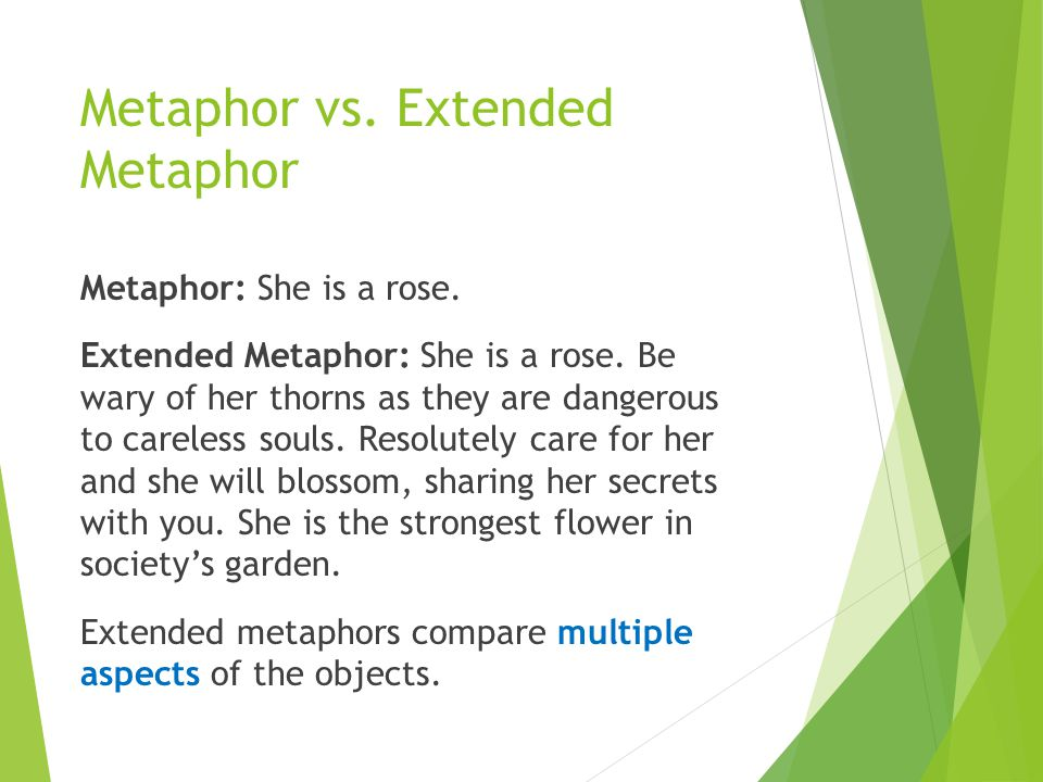 Metaphor vs. Extended Metaphor Metaphor: She is a rose. Extended Metaphor: She is a rose. Be wary of her thorns as they are dangerous to careless soul