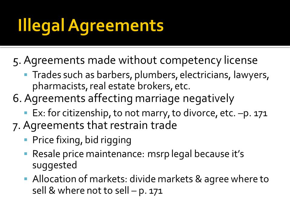 5. Agreements made without competency license  Trades such as barbers, plumbers, electricians, lawyers, pharmacists, real estate brokers, etc. 6. Agr
