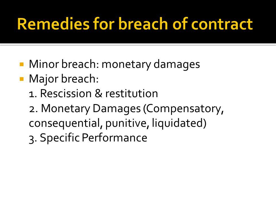  Minor breach: monetary damages  Major breach: 1.