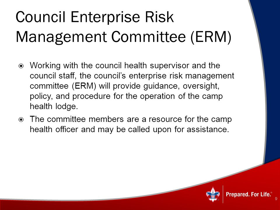 Council Enterprise Risk Management Committee (ERM)  Working with the council health supervisor and the council staff, the council's enterprise risk m
