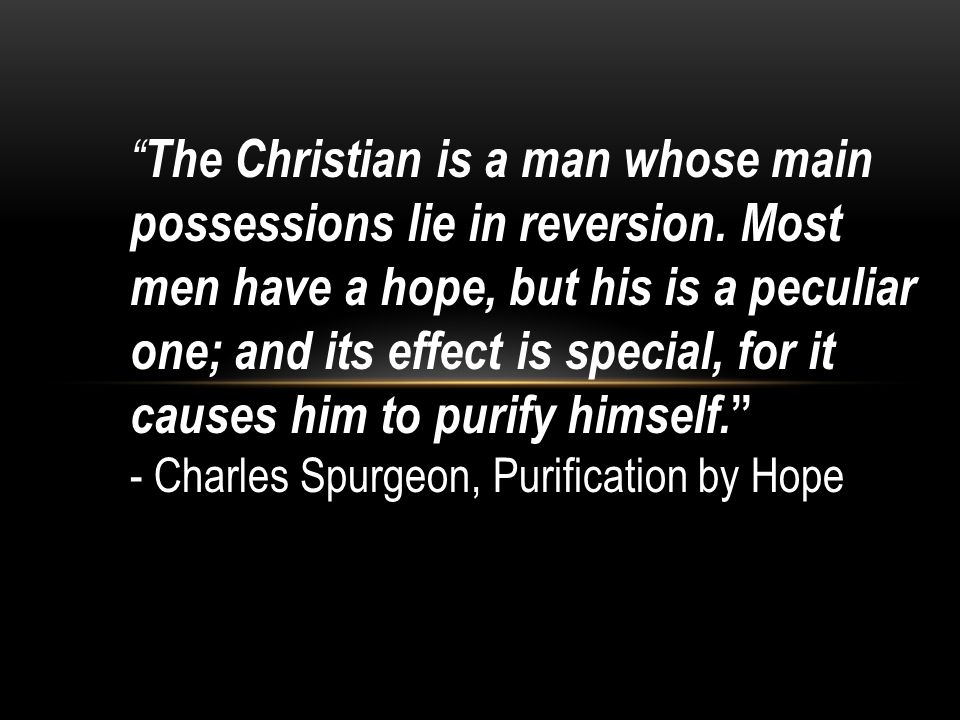 The Christian is a man whose main possessions lie in reversion.