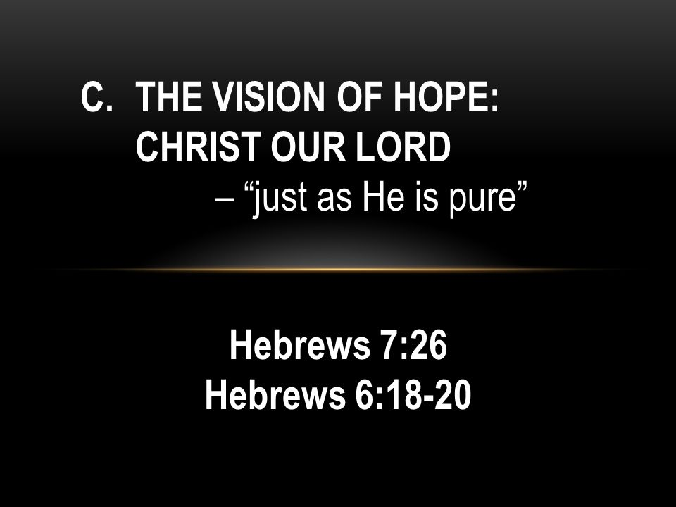 C.THE VISION OF HOPE: CHRIST OUR LORD – just as He is pure Hebrews 7:26 Hebrews 6:18-20
