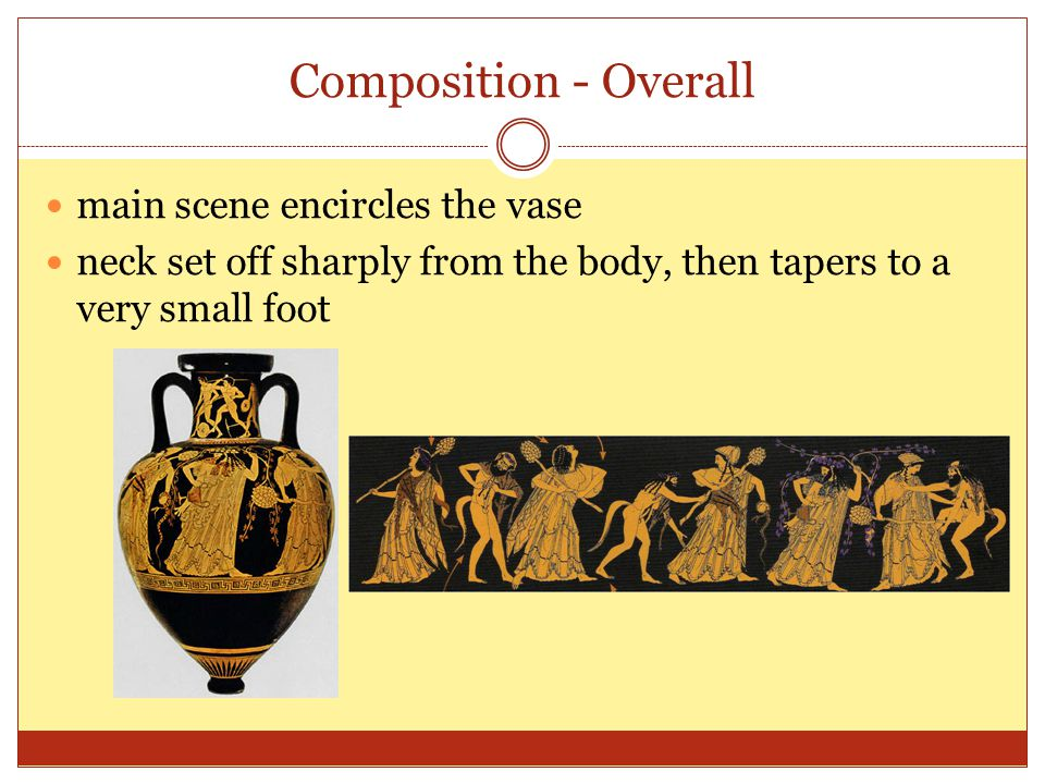 Composition - Overall main scene encircles the vase neck set off sharply from the body, then tapers to a very small foot