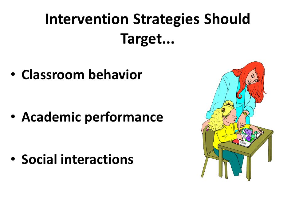 Intervention Strategies Should Target... Classroom behavior Academic performance Social interactions
