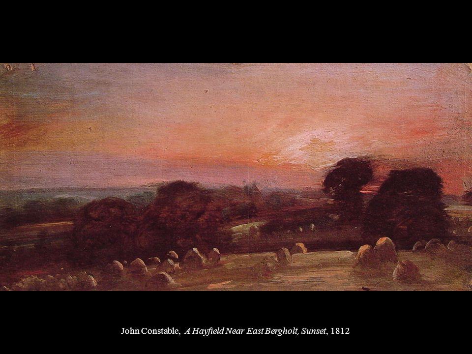 John Constable, A Hayfield Near East Bergholt, Sunset, 1812
