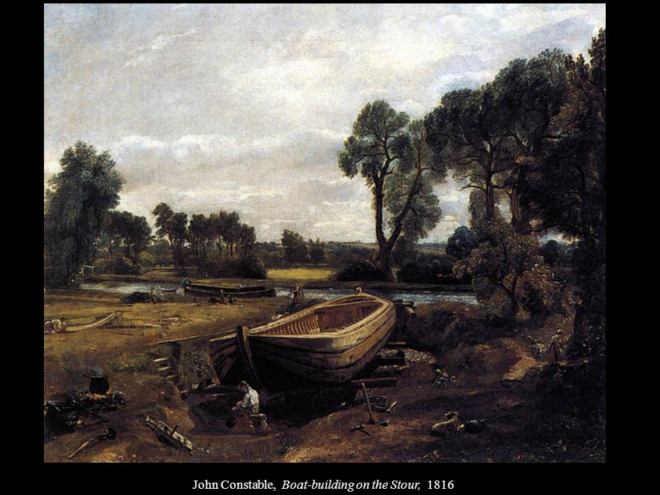 John Constable, Boat-building on the Stour, 1816