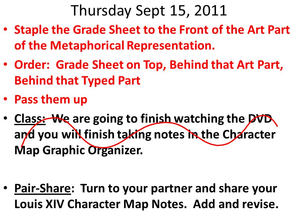 Thursday Sept 15, 2011 Staple the Grade Sheet to the Front of the Art Part of the Metaphorical Representation.