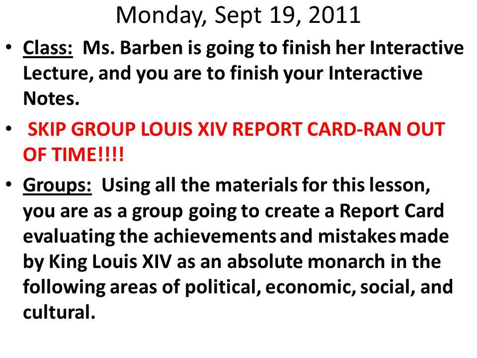 Monday, Sept 19, 2011 Class: Ms.