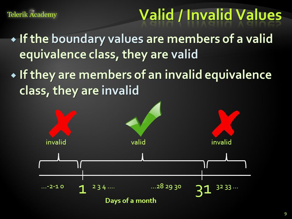  If the boundary values are members of a valid equivalence class, they are valid  If they are members of an invalid equivalence class, they are inva