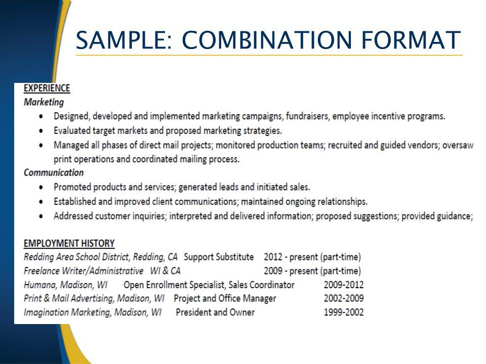 SAMPLE: COMBINATION FORMAT