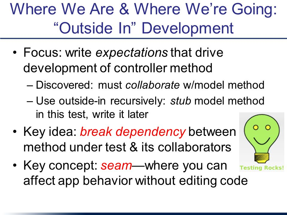 "Where We Are & Where We're Going: ""Outside In"" Development Focus: write expectations that drive development of controller method –Discovered: must col"