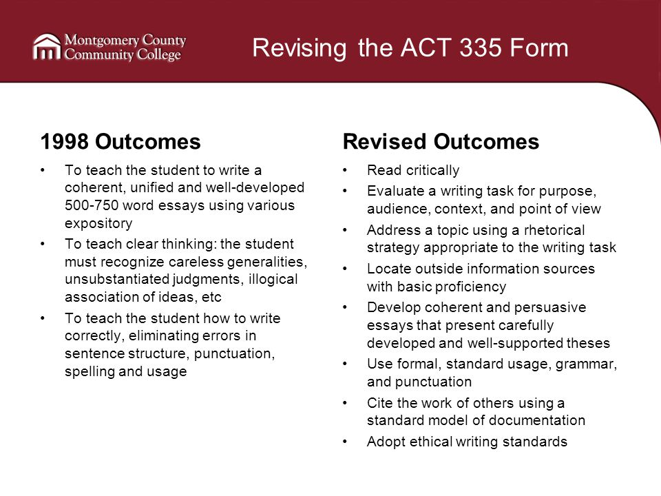 Revising the ACT 335 Form 1998 Outcomes To teach the student to write a coherent, unified and well-developed 500-750 word essays using various expository To teach clear thinking: the student must recognize careless generalities, unsubstantiated judgments, illogical association of ideas, etc To teach the student how to write correctly, eliminating errors in sentence structure, punctuation, spelling and usage Revised Outcomes Read critically Evaluate a writing task for purpose, audience, context, and point of view Address a topic using a rhetorical strategy appropriate to the writing task Locate outside information sources with basic proficiency Develop coherent and persuasive essays that present carefully developed and well-supported theses Use formal, standard usage, grammar, and punctuation Cite the work of others using a standard model of documentation Adopt ethical writing standards