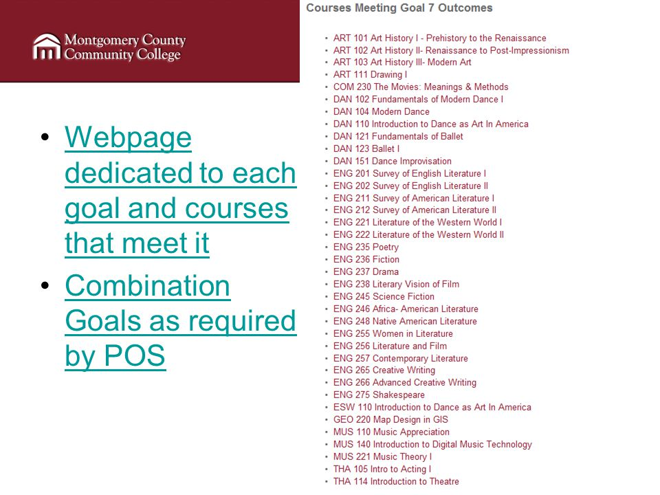 Webpage dedicated to each goal and courses that meet itWebpage dedicated to each goal and courses that meet it Combination Goals as required by POSCombination Goals as required by POS