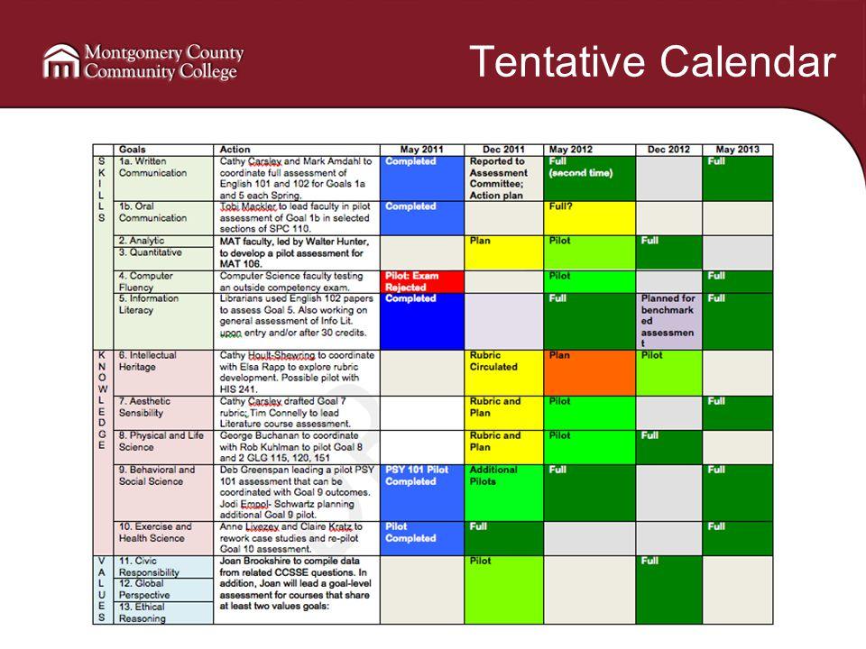 Tentative Calendar